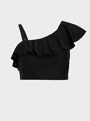 Black One Shoulder Flounce Wireless Bikini Top , DEEP BLACK, flat