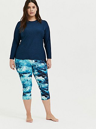 Plus Size Blue Ocean Crop Swim Legging , MULTI, alternate