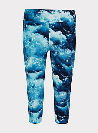 Plus Size Blue Ocean Crop Swim Legging , MULTI, flat
