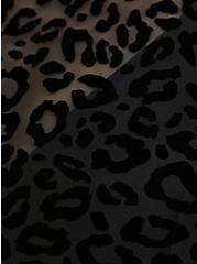 Black Leopard Flocked Mesh Lightly Lined Wireless Halter Bikini Top, DEEP BLACK, alternate