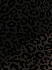 Black Leopard Flocked Mesh High Waist Skater Swim Skirt, DEEP BLACK, alternate