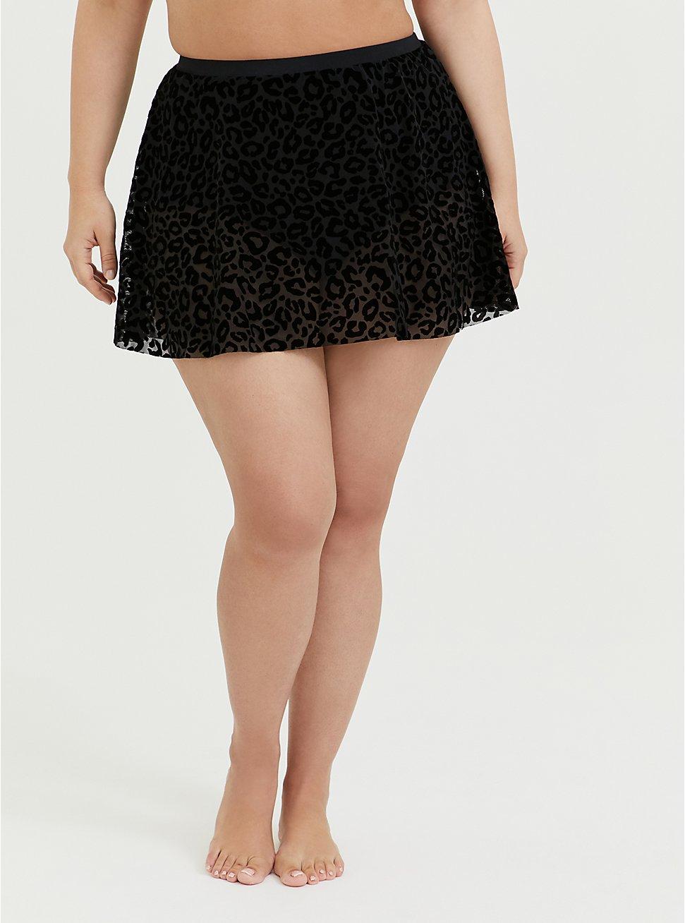 Plus Size Black Leopard Flocked Mesh High Waist Skater Swim Skirt, , hi-res