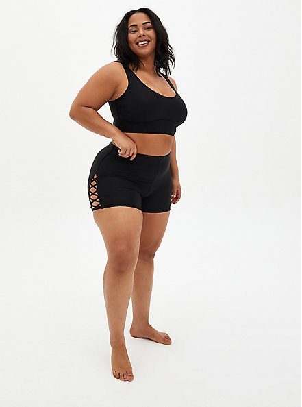 Black Lattice Side Swim Short, DEEP BLACK, alternate