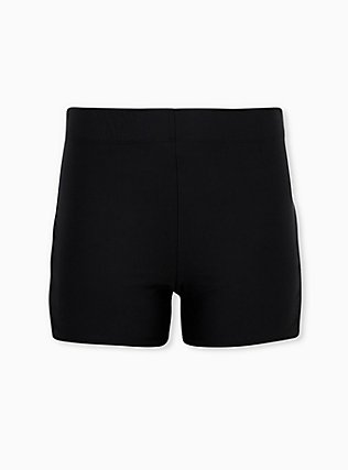 Black Lattice Side Swim Short, DEEP BLACK, flat