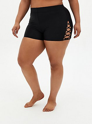 Plus Size Black Lattice Side Swim Short, DEEP BLACK, hi-res