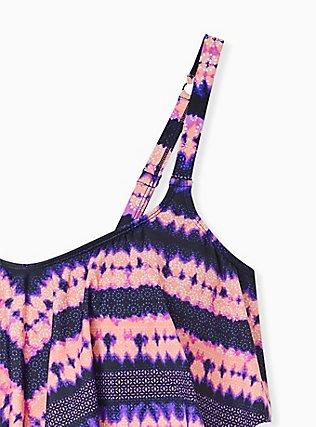 Pink & Purple Tie-Dye Medallion Wireless Flounce Bikini Top, MULTI, alternate