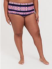 Plus Size Pink & Purple Tie-Dye Medallion High Waist Swim Bottom, MULTI, hi-res