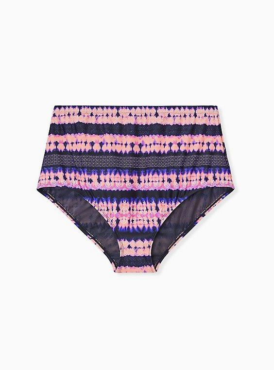 Plus Size Pink & Purple Tie-Dye Medallion High Waist Swim Bottom, MULTI, ls