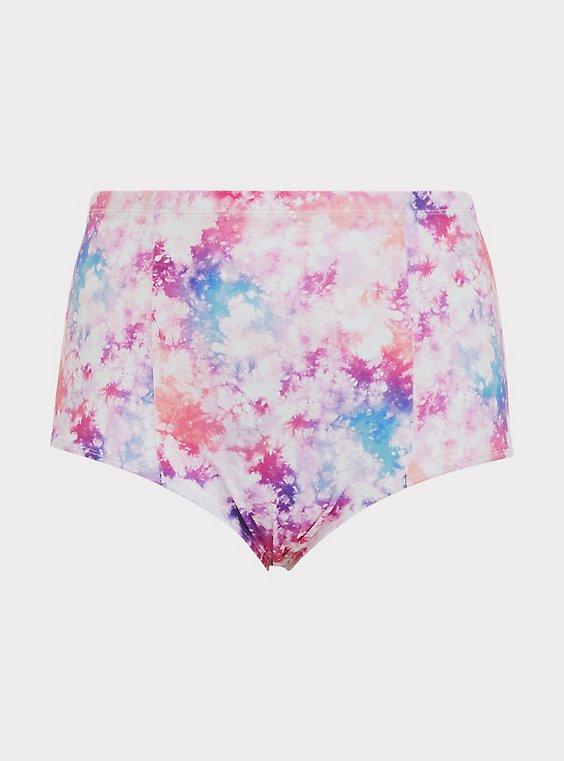 Plus Size Multicolor Tie-Dye High Waist Swim Bottom, , flat