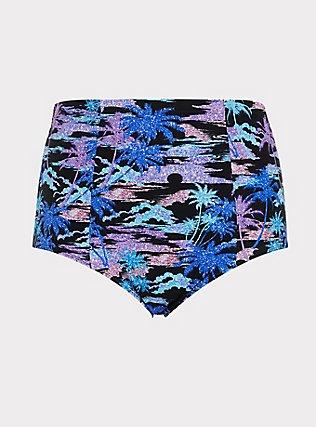Plus Size Multi Shimmer Palm Tree Print Lattice Back Swim Bottom, MULTI, flat