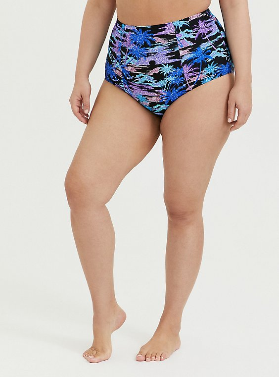 Multi Shimmer Palm Tree Print Lattice Back Swim Bottom, , hi-res