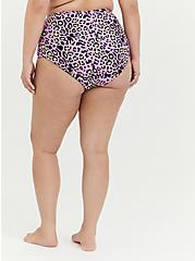 Plus Size Purple Leopard & Black Reversible High Waist Swim Bottom, MULTI, alternate