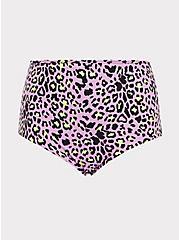 Plus Size Purple Leopard & Black Reversible High Waist Swim Bottom, MULTI, hi-res