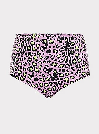 Plus Size Purple Leopard & Black Reversible High Waist Swim Bottom, MULTI, flat