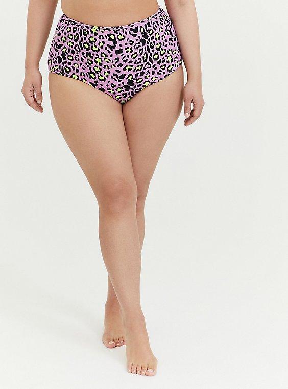 Plus Size Purple Leopard & Black Reversible High Waist Swim Bottom, , hi-res