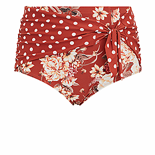 Dusty Red Floral & Polka Dot High Waist Tie Front Swim Bottom