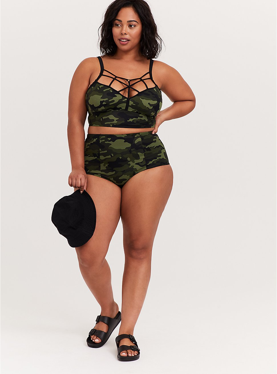 Plus Size Green Camo Strappy Bikini Set, , hi-res