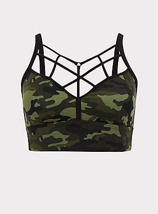 Plus Size Camo Wireless Lattice Bikini Top, MULTI, flat