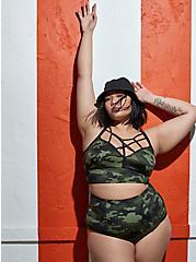 Plus Size Camo Wireless Lattice Bikini Top, MULTI, hi-res