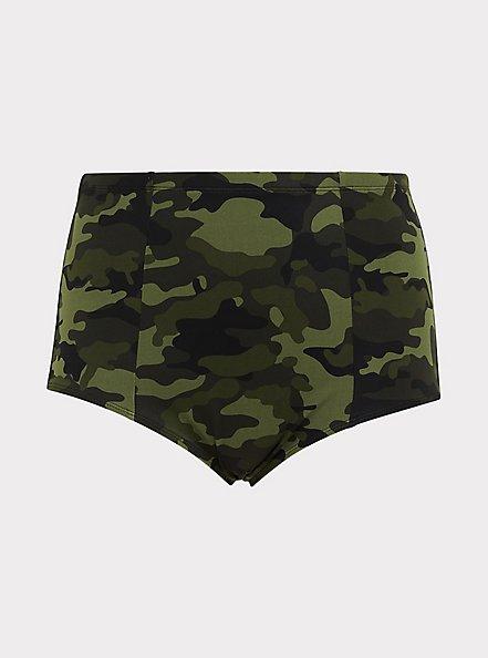 Plus Size Camo Lattice Back High Waist Swim Bottom, MULTI, hi-res