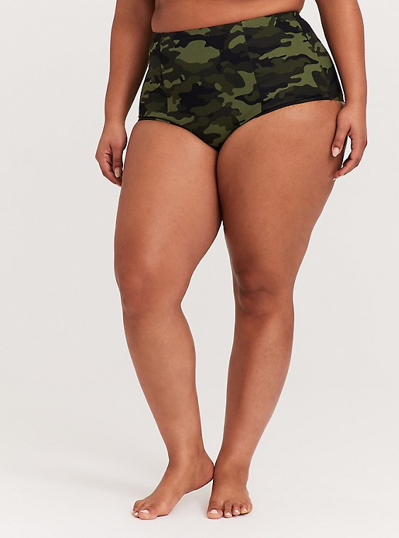 Plus Size Camo Lattice Back High Waist Swim Bottom, , hi-res
