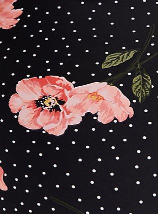 Black Floral & Polka Dot Tie Front Wireless One-Piece Swimsuit, MULTI, alternate