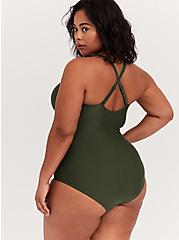 Olive Green Wireless Ruched One-Piece Swimsuit, OLIVE, alternate