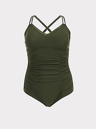 Olive Green Wireless Ruched One-Piece Swimsuit, OLIVE, flat