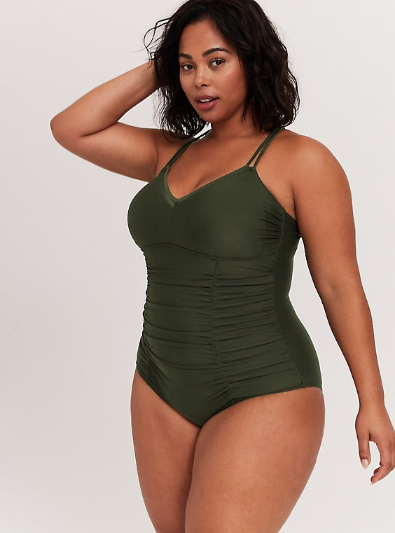 Olive Green Wireless Ruched One-Piece Swimsuit, , hi-res