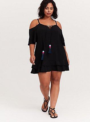 Black Cold Shoulder Lace-Up Dress Swim Cover Up, MULTI, alternate