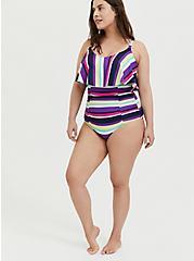 Multi Stripe Wireless Flounce Ruched One-Piece Swimsuit, MULTI, alternate