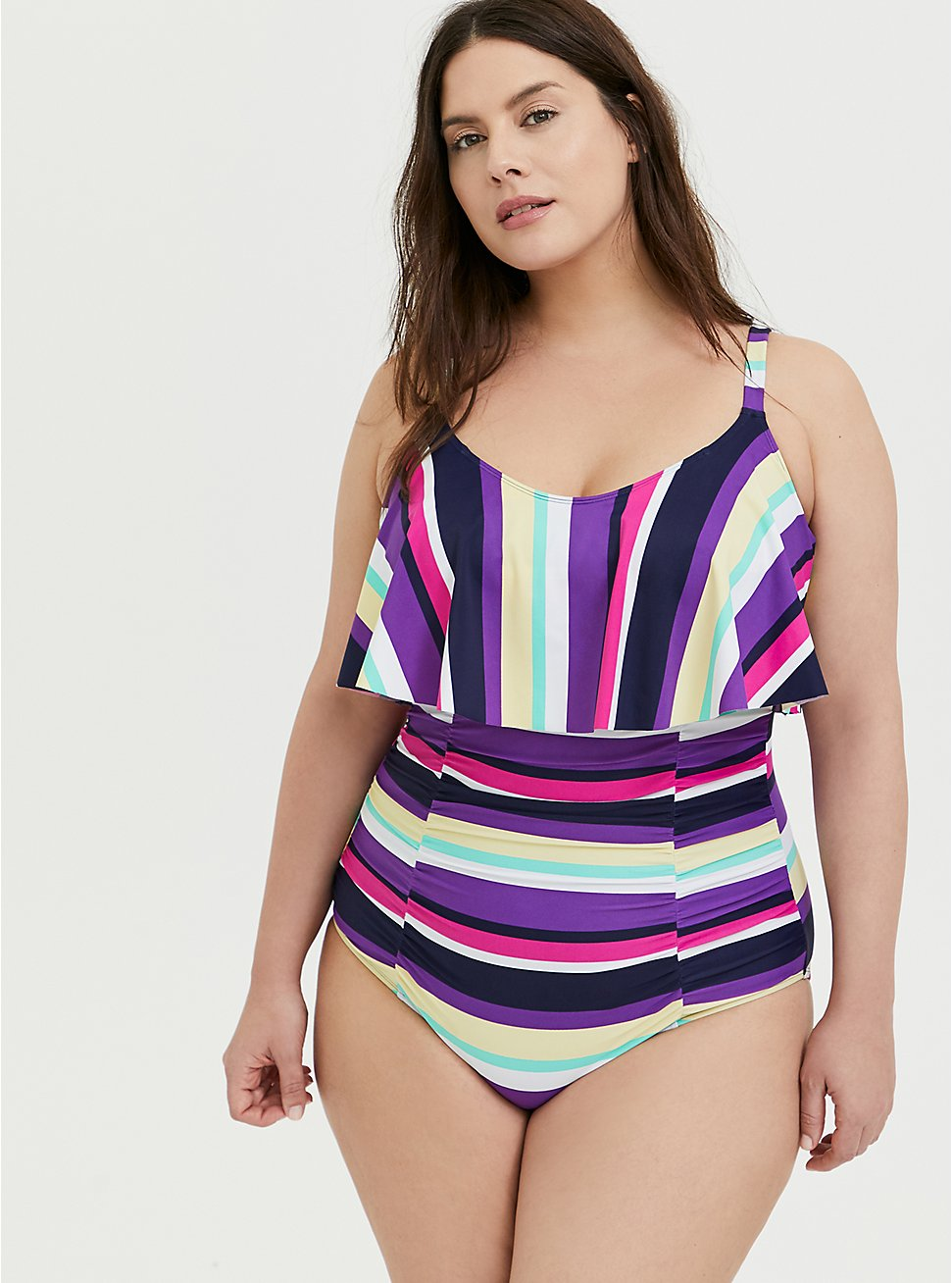Multi Stripe Wireless Flounce Ruched One-Piece Swimsuit, MULTI, hi-res