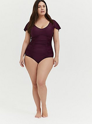 Grape Purple Wireless Flutter Sleeve One-Piece Swimsuit , PLUM, alternate