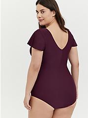 Plus Size Grape Purple Wireless Flutter Sleeve One-Piece Swimsuit , PLUM, alternate