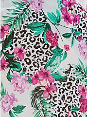 White Tropical Leopard Chiffon Sarong Skirt Swim Cover Up, MULTI, alternate