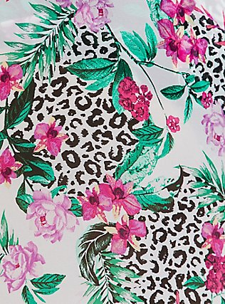 Plus Size White Tropical Leopard Chiffon Sarong Skirt Swim Cover-Up, MULTI, alternate