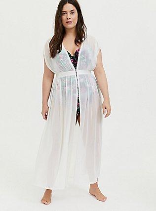 Ivory Mesh Maxi Dress Swim Cover Up , IVORY, hi-res