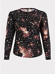 Black Celestial Long Sleeve Layering Swim Shirt, MULTI, hi-res
