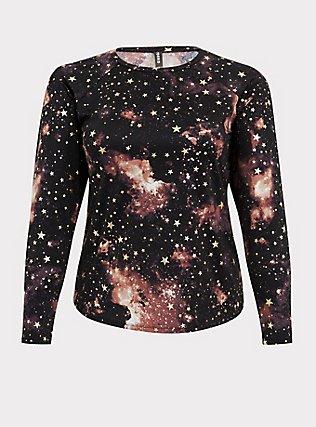 Black Celestial Long Sleeve Layering Swim Shirt, MULTI, flat