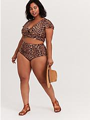 Leopard Tie Front Wireless Swim Crop Top, MULTI, alternate