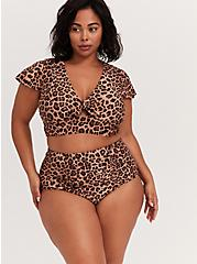 Leopard Tie Front Wireless Swim Crop Top, MULTI, hi-res