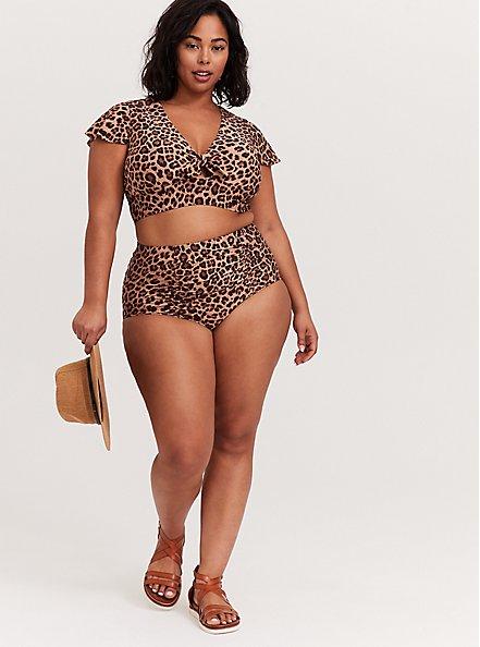 Plus Size Leopard High Waist Ruched Swim Bottom, MULTI, alternate