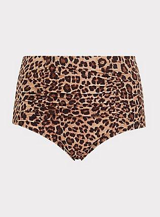 Leopard High Waist Ruched Swim Bottom, MULTI, flat