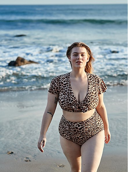 Plus Size Leopard High Waist Ruched Swim Bottom, MULTI, hi-res