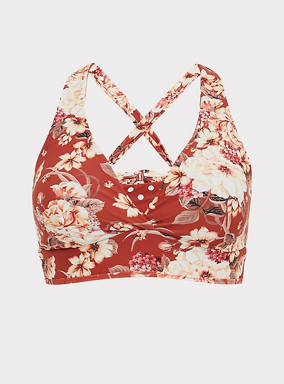 Plus Size Dusty Red Floral & Polka Dot Reversible Wireless Triangle Bikini Top, , flat
