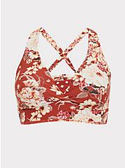 Dusty Red Floral & Polka Dot Reversible Wireless Triangle Bikini Top, MULTI, hi-res
