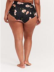 Black Floral & Polka Dot High Waist Ruched Swim Bottom, MULTI, alternate