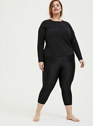 Black Long Sleeve Layering Swim Shirt, DEEP BLACK, alternate