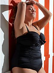 Plus Size Black Tie Front Underwire One-Piece Swimsuit, DEEP BLACK, hi-res