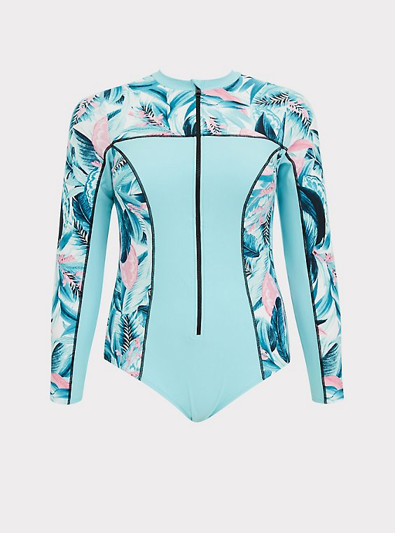 Aqua Blue Tropical One-Piece Rash Guard Swimsuit, , flat